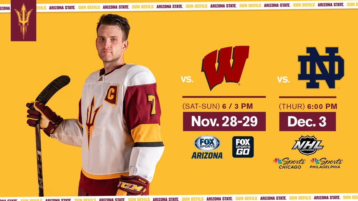 .@SunDevilHockey TV Announcement 🚨 📺 vs. Wisconsin: @FOXSPORTSAZ 📺 vs. Notre Dame (Thu.): @NHLNetwork