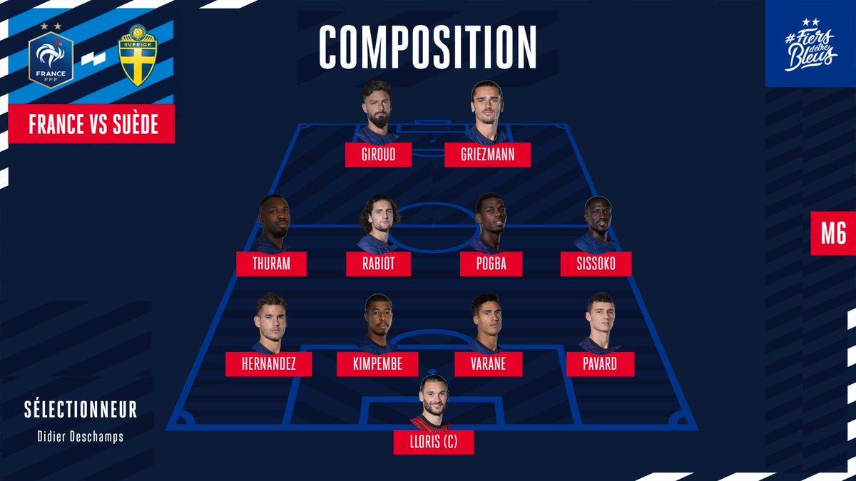 Equipe De France On Twitter La Composition De L Equipe De France Pour Affronter La Suede Frasue Fiersdetrebleus