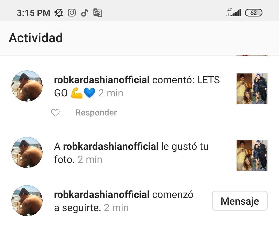 ROB KARDASHIAN ME SIGUIÓ EN INSTAGRAM!!!! ROB FOLLOWS 😭😭😭😭😭