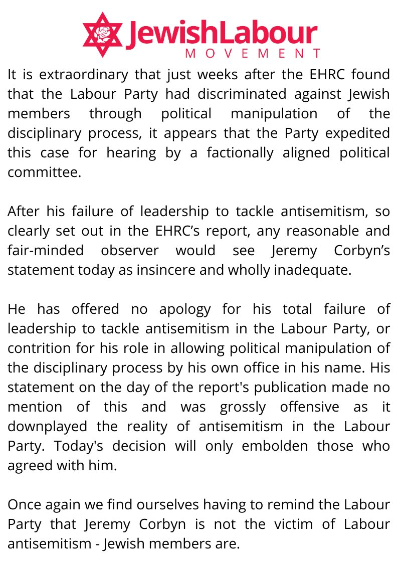 The Jewish Labour Movement's statement on Jeremy Corbyn's readmission to the Labour Party