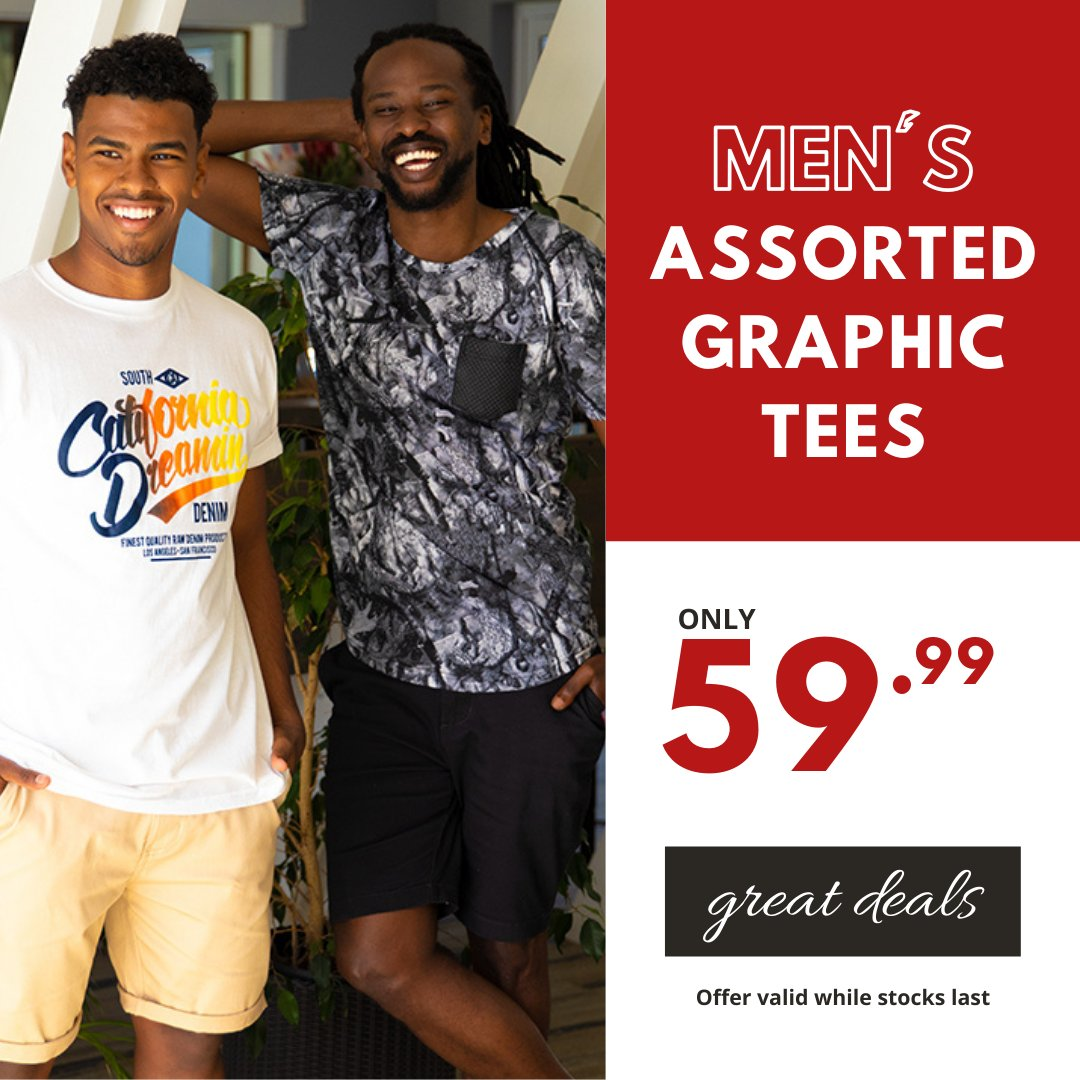 Looking cool has never been this easy...so beat the heat with these great deals! Men's Assorted Graphic Tees only 59.99 #choiceclothing #wearchoice #menstshirts #tees