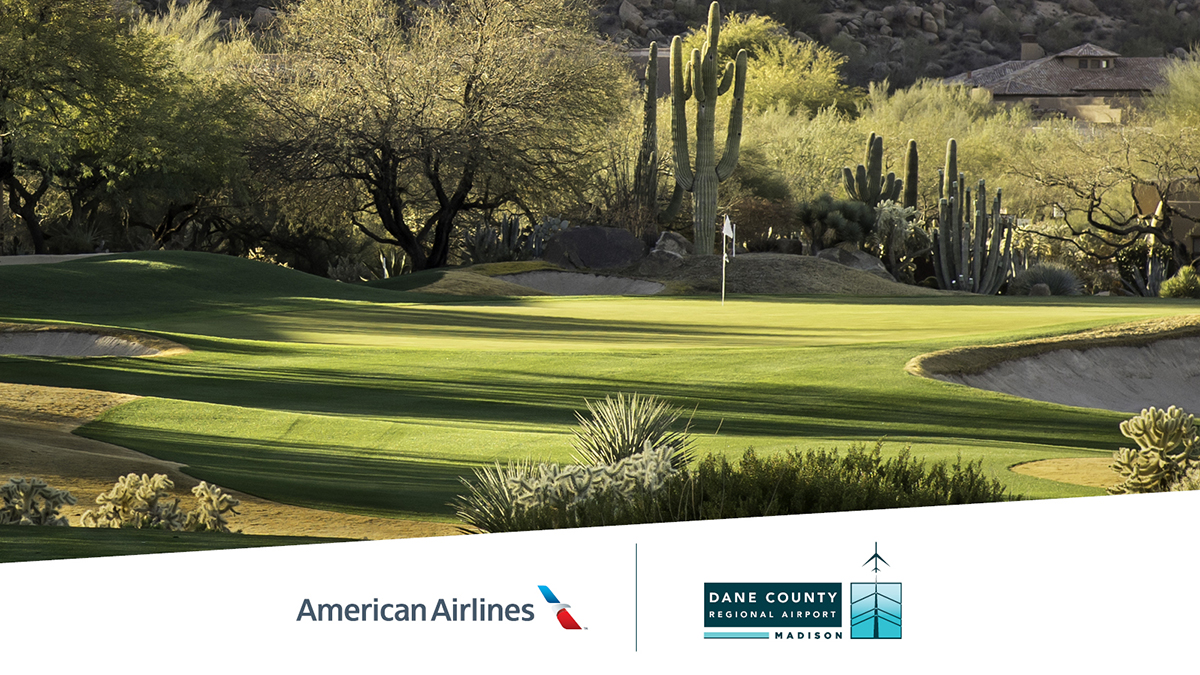 Now you can escape the cold weather and tee things up on the golf course with a jaunt to @PHXSkyHarbor non-stop from MSN Airport on @AmericanAir!  #Travel #FlyLocal #AmericanAirlines #Phoenix #MSNAirport