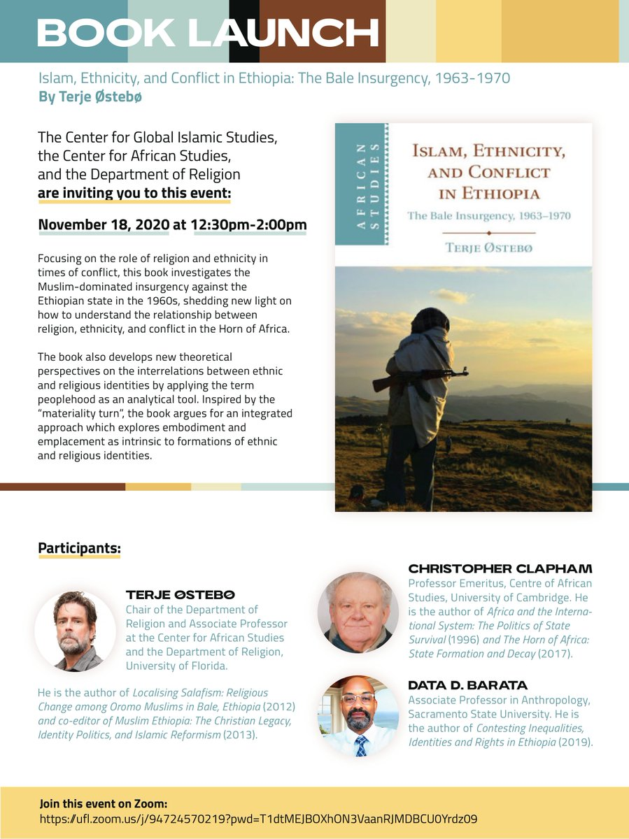 Just a reminder about this event tomorrow 18 Nov. at 12.30 EST for the launch of my new book, Islam, Ethnicity & Conflict in Ethiopia, with Data Barata & Christopher Clapham   Here is the link: https://t.co/Mem58Hea2B And buy the book: https://t.co/40g8B0uPVC https://t.co/T7IfiQINMj