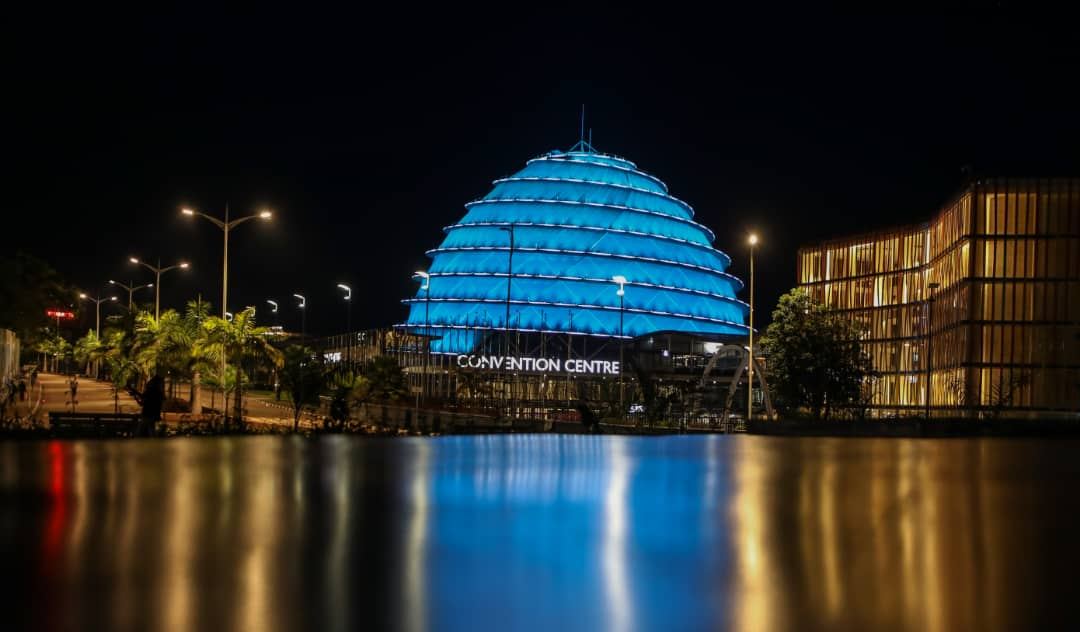 Tonight, the iconic Kigali Convention Center dome is lit in teal to highlight the urge to eliminate #CervicalCancer. #EndCervicalCancer