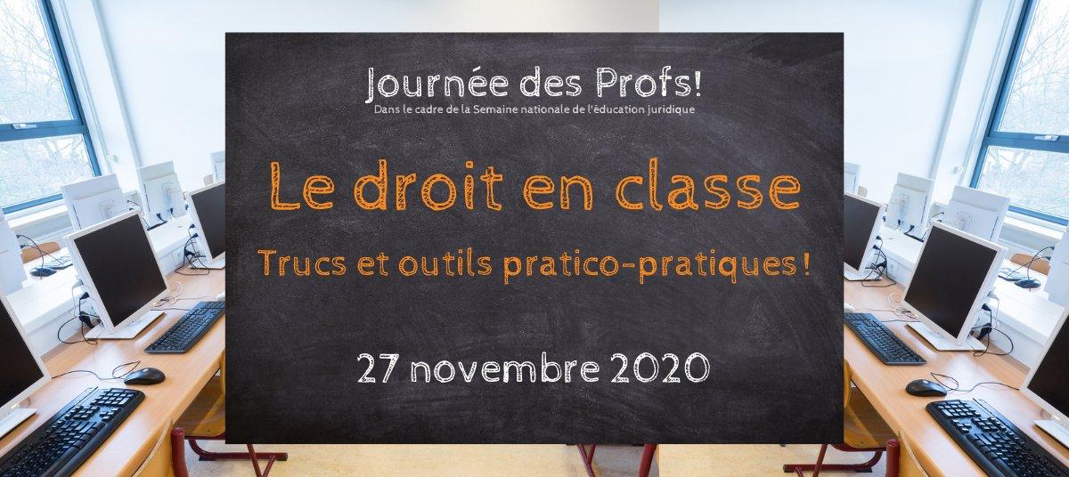 🍎 🎓 📚 La journée des profs : virtuelle et éclatée! L'activité d'échange intitulée « Le droit en classe » aura lieu de 11 h 30 à 12 h 30 le vendredi 27 novembre. Pour vous inscrire, c'est ici : https://t.co/FmGaazeS2I C'est gratuit! https://t.co/prPToiCEBp