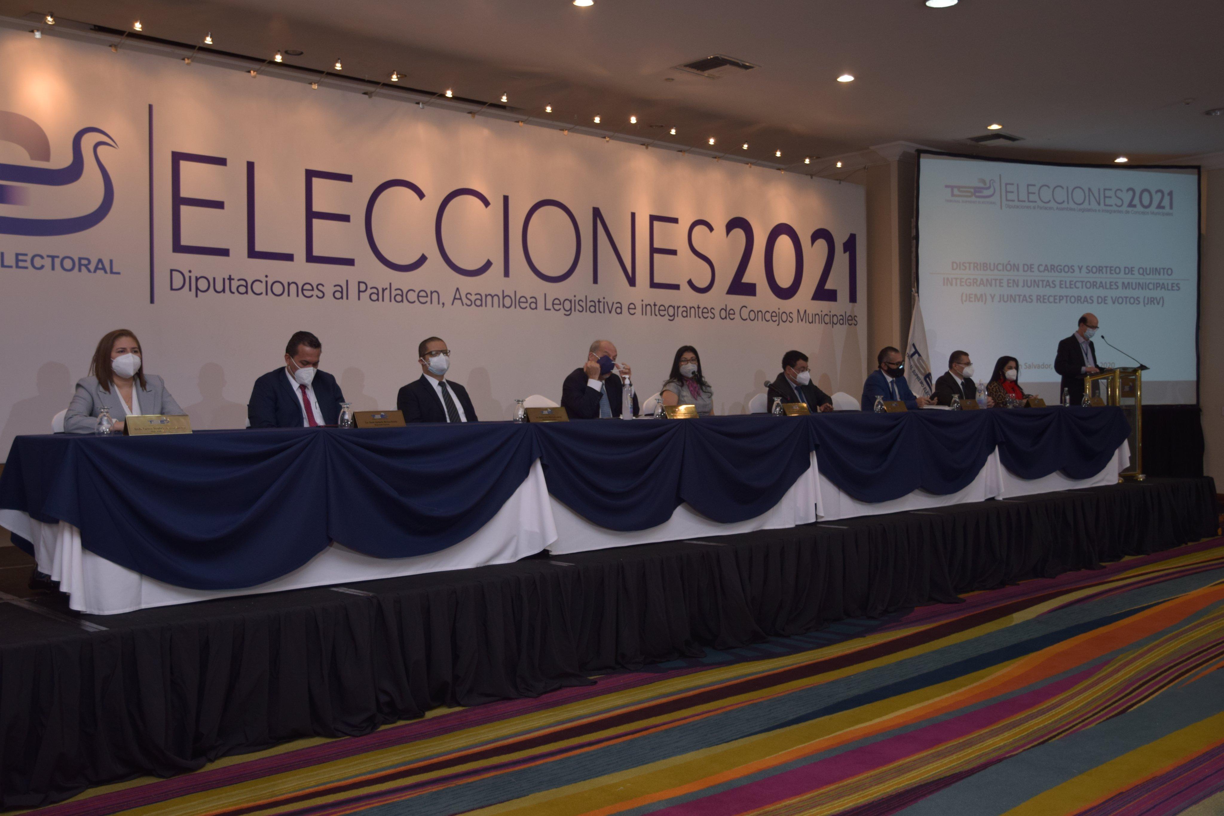 TSE sortea distribución de cargos en JEM y JRV para elecciones 2021