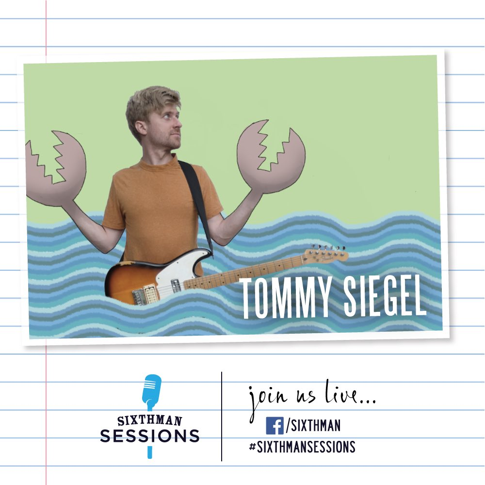Turn your radio dials over to Sixthman today at 5PM ET for music from @TommySiegel. ❤️🎶 You might know him from seeing @JukeboxtheGhost aboard #TheRockBoat, hes also a talented cartoonist, and hes bringing us some good (car) tunes this afternoon. #SixthmanSessions #SXMsessions
