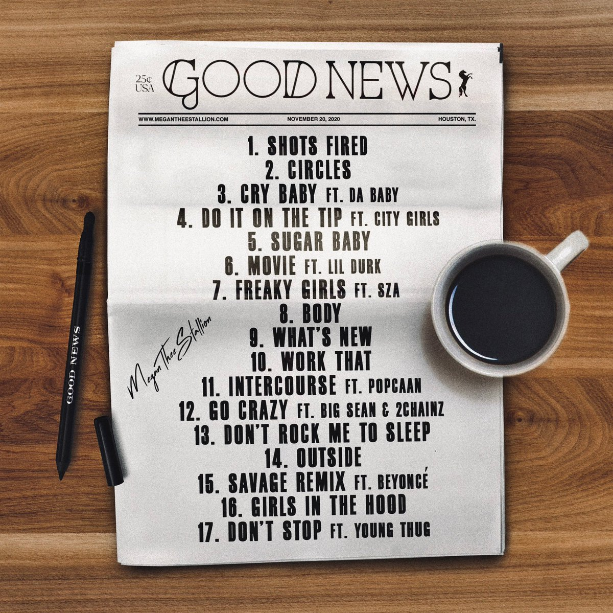 #GOODNEWS. MEGAN THEE STALLION. FRIDAY.  f/ @DaBabyDaBaby, @citygirls, @lildurk, @sza, @PopcaanMusic, @BigSean, @2chainz, @Beyonce, @youngthug