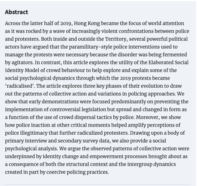 """Our paper """"Patterns of 'Disorder' During the 2019 Protests in Hong Kong: Policing, Social Identity, Intergroup Dynamics, and Radicalization"""" is now published. Commentary articles and our reply to those commentaries to follow soon.  https://t.co/8beCXsPaJc https://t.co/CuWtyDAhvU"""
