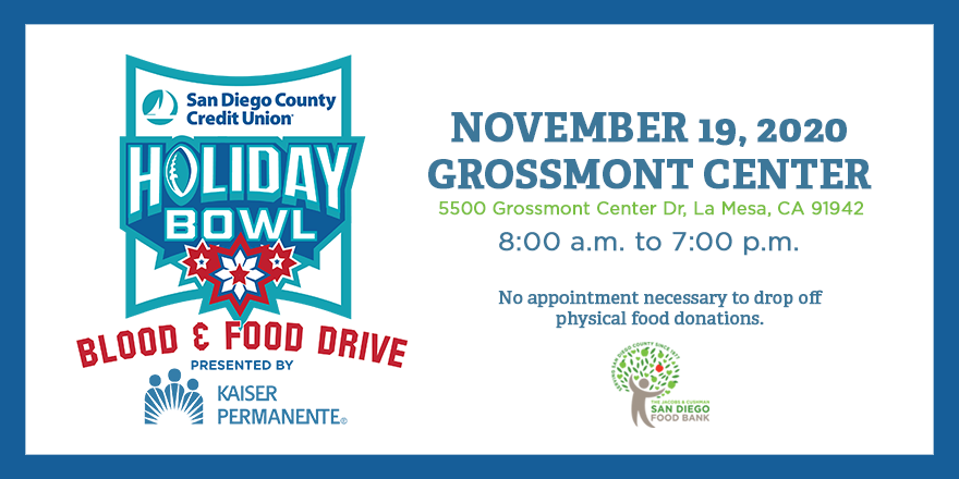 Make a difference in your community and support the @sdccu @HolidayBowl Blood and Food Drive this Thurs., Nov. 19 at Grossmont Center in La Mesa. Donate blood or drop off nonperishable food items anytime between 8 a.m. and 7 p.m. For more info visit: bit.ly/HolidayBowlDri…