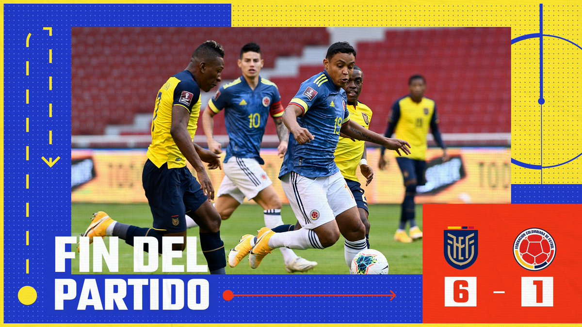 Termina el partido  🇪🇨 6⃣-1⃣ 🇨🇴  #VamosColombia 🇨🇴 #ECUCOL