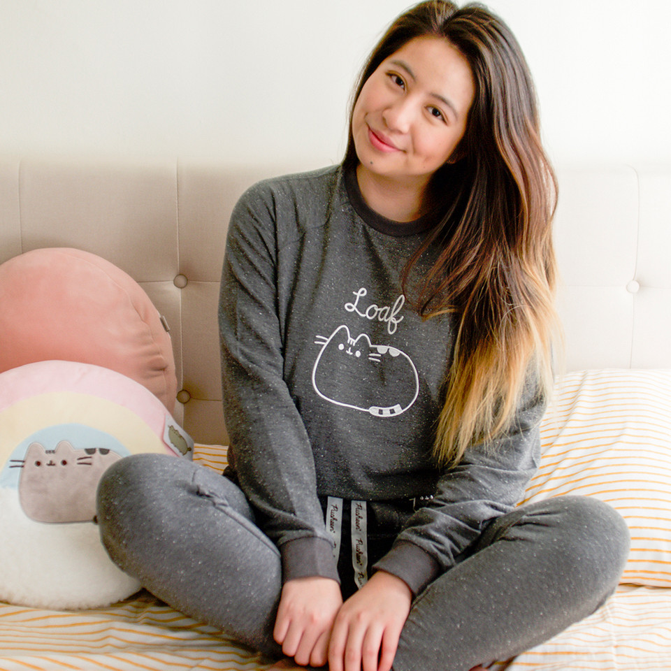 @jenjenxie looks SO cute in the newest #Pusheen #pajama set (that also makes for a great lounge set)! Its the perfect comfy look to rock all winter long ✨ bit.ly/3kByMx7