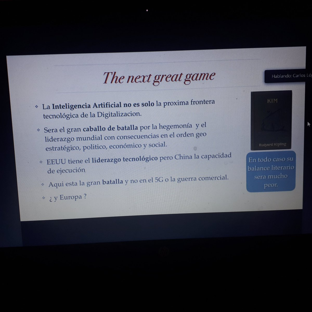 @clopezbl President #DigitalizationCommittee @camarascomercio,  new President #DigitalEconomy Commission @ICC and VicePresident @ICCSpain gives #ZOOM lecture on #TheNextGreatGame between #USA #China and #EU to be played in #ArtificialIntelligence together with #QuanticComputers https://t.co/urOb2rO0te