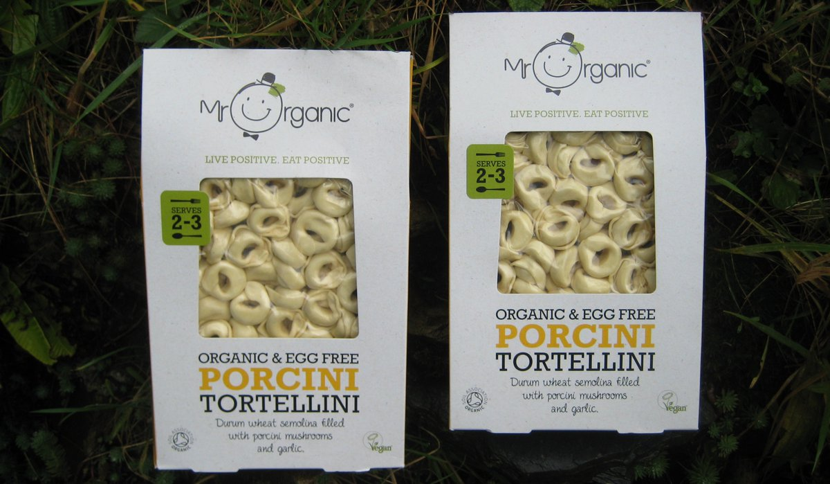 We picked up these to try out... Organic & Egg Free Porcini Tortellini by Mr Organic @MrOrganic. #veganhour