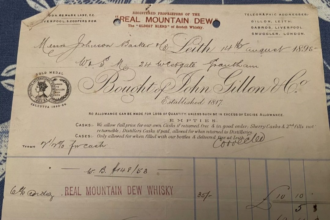 Beautiful 1895 invoice from John Gillon & Co Leith. Real Mountain Dew Whisky.