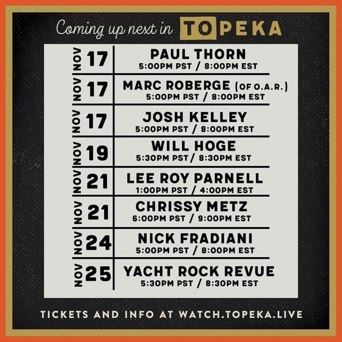 Hey there Sixthman family! Our friends over at @Topeka_Live have some great live stream events coming up. Tune in soon for music from Sixthman alum artists including @pimpspreachers, Marc Roberge of @ofarevolution, @JoshBkelley, @WillHoge, and @YachtRockRevue ❤️🎶
