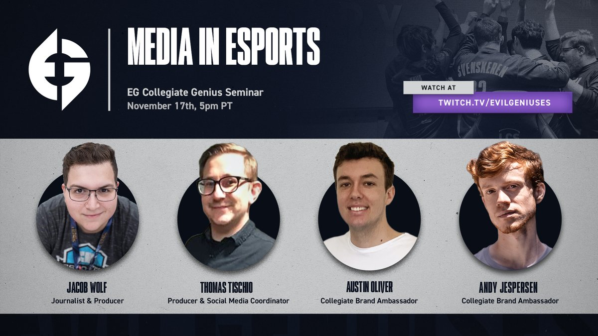 """Evil Geniuses - What goes into dropping #Wolfbombs in esports?  Join us tonight for a special """"Media in Esports"""" Genius Seminar with @JacobWolf and @tischphotos at 5PM PT and find out!   🐺 💣"""