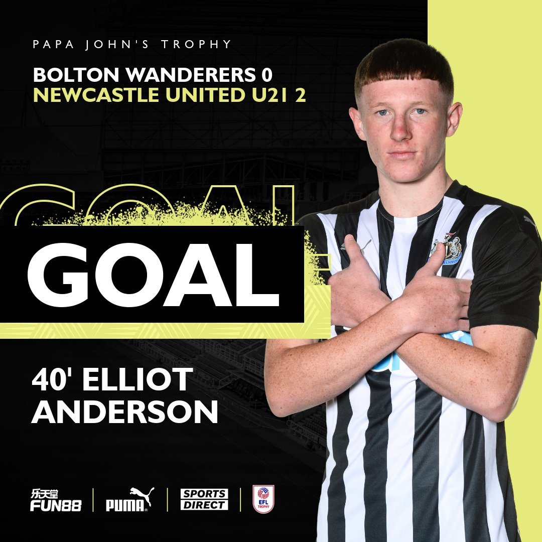 40 GOOOAAALLLL!!! A touch of class from Elliot Anderson! #NUFC | #PapaJohnsTrophy