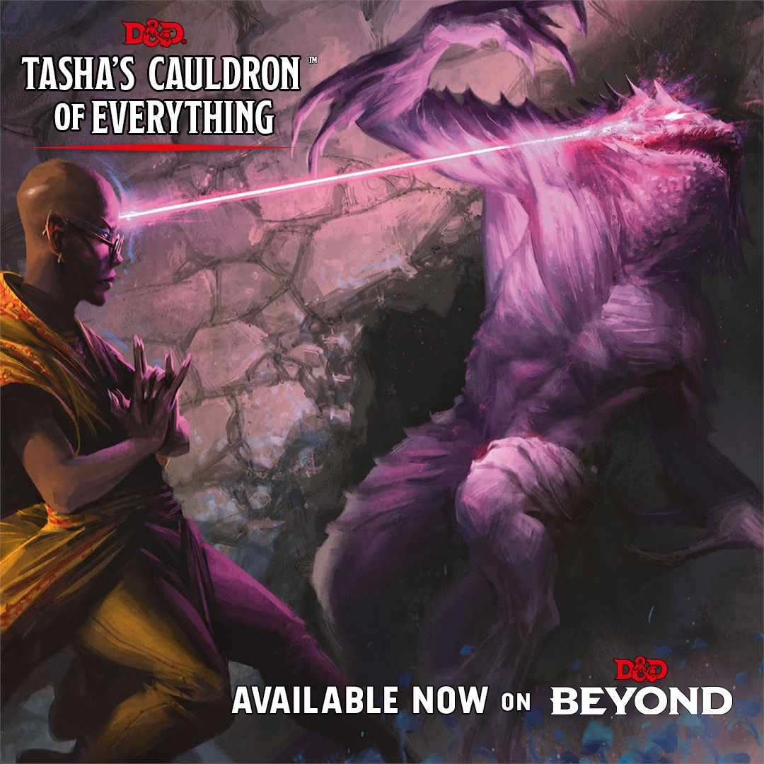 elvish figure to the left blasts a purple beam into a purple creatures eye. Figured dressed in yellow robes