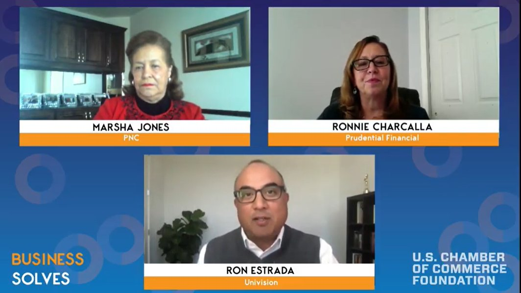 Thrilled to have @PNCBank's Marsha Jones, @Prudential's Ronnie Charcalla, and @Univision's @EstradaReport with us at #BusinessSolves discussing their org's commitment to ensuring greater equity for people of color and marginalized groups. Tune in live: https://t.co/HwxXOVK8yy https://t.co/J7n72BkzZ4