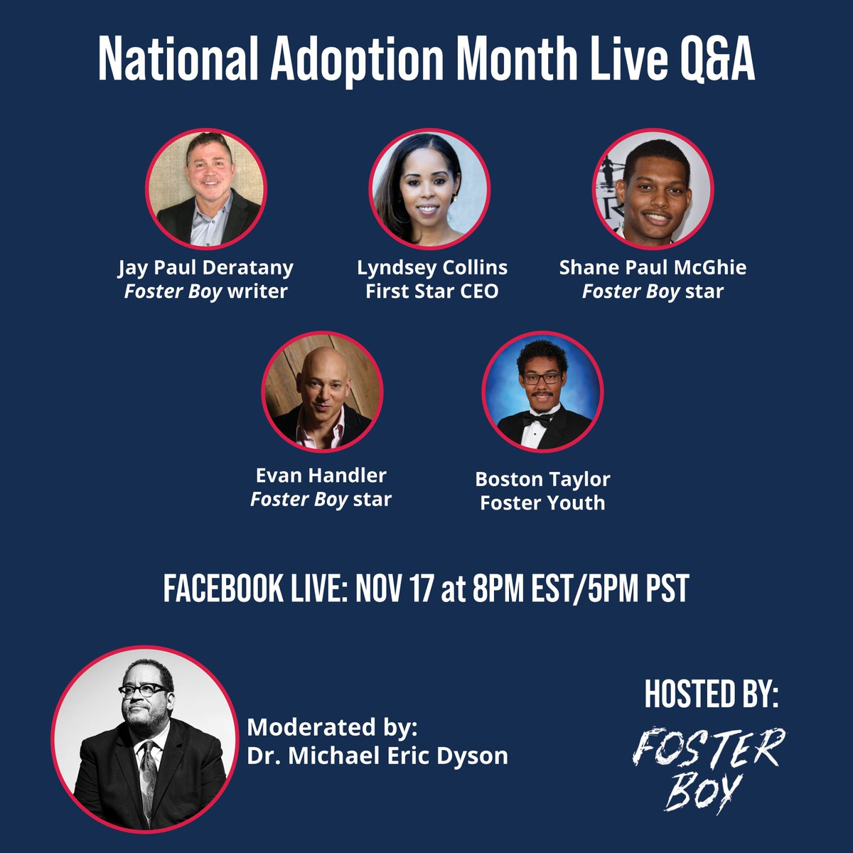 We're excited to have all these wonderful panelists join us tonight for our live Q&A for #NationalAdoptionAwarenessMonth! Be sure to join us on Facebook Live at 5pm PST/8pm EST for a terrific discussion about how we can #FixFosterCare! @MsCollinsSci @MichaelEDyson