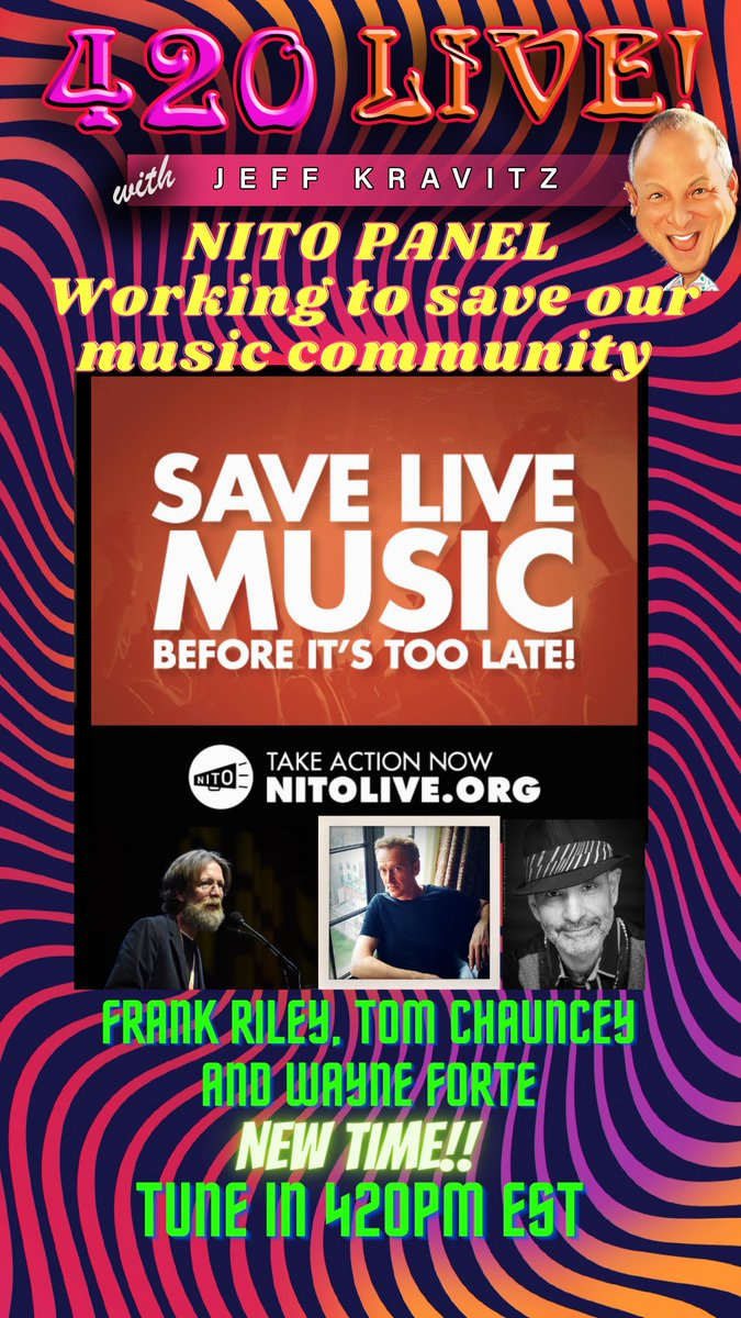 420LIVE!! @NITO_Live panel discussion today focusing on when and how our live music will return and what YOU can do to help. Tune in 420pm EST LIVE or on demand youtu.be/ROVvWky3Fug