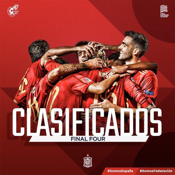 🏁 ¡¡FINAAAAL EN SEVILLA Y OBJETIVO LOGRADO!!  🥳 ¡¡ESTAMOS EN LA FINAL FOUR DE LA #UEFANationsLeague!! ¡¡VAMOOOOS!!  🙌🏻 La @SeFutbol completa un partido ensueño ante Alemania y se clasifica para la final a cuatro del torneo.  🇪🇸 🆚 🇩🇪 | 6-0 | 90'+2  #SomosEspaña #SomosFederación