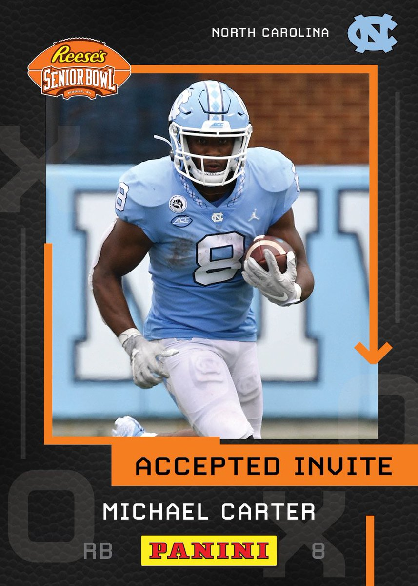 OFFICIAL! Welcome RB Michael Carter (@8kMike) from @TarHeelFootball to the @Reeses Senior Bowl!!! 😤😤😤#CarolinaFootball #TheDraftStartsInMOBILE #BestOfTheBest