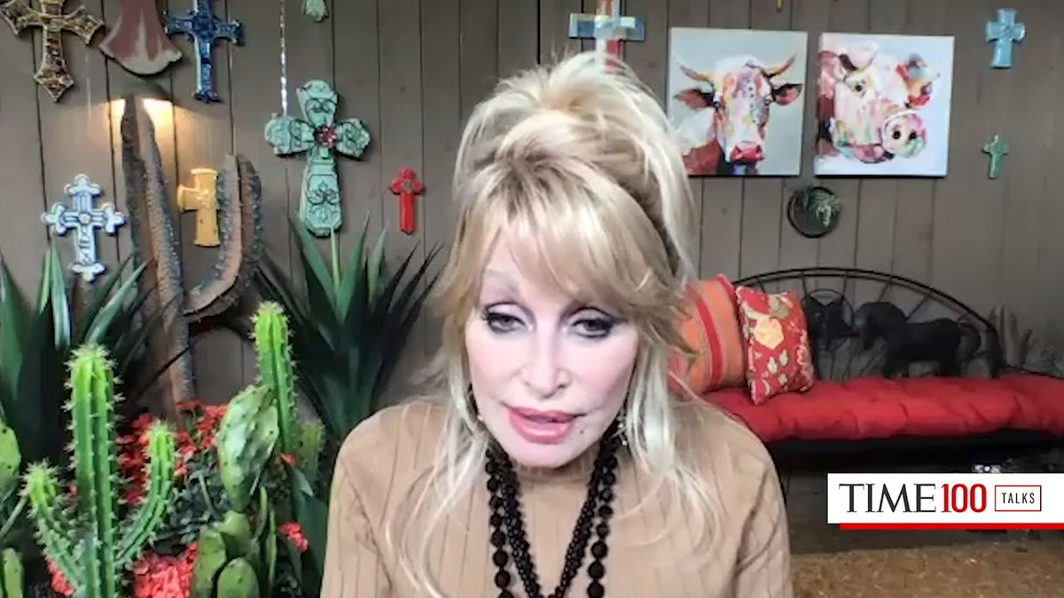 In April, Dolly Parton spoke at a #TIME100Talks about her $1 million donation to Vanderbilt University Medical Center — which helped fund Moderna's COVID-19 vaccine
