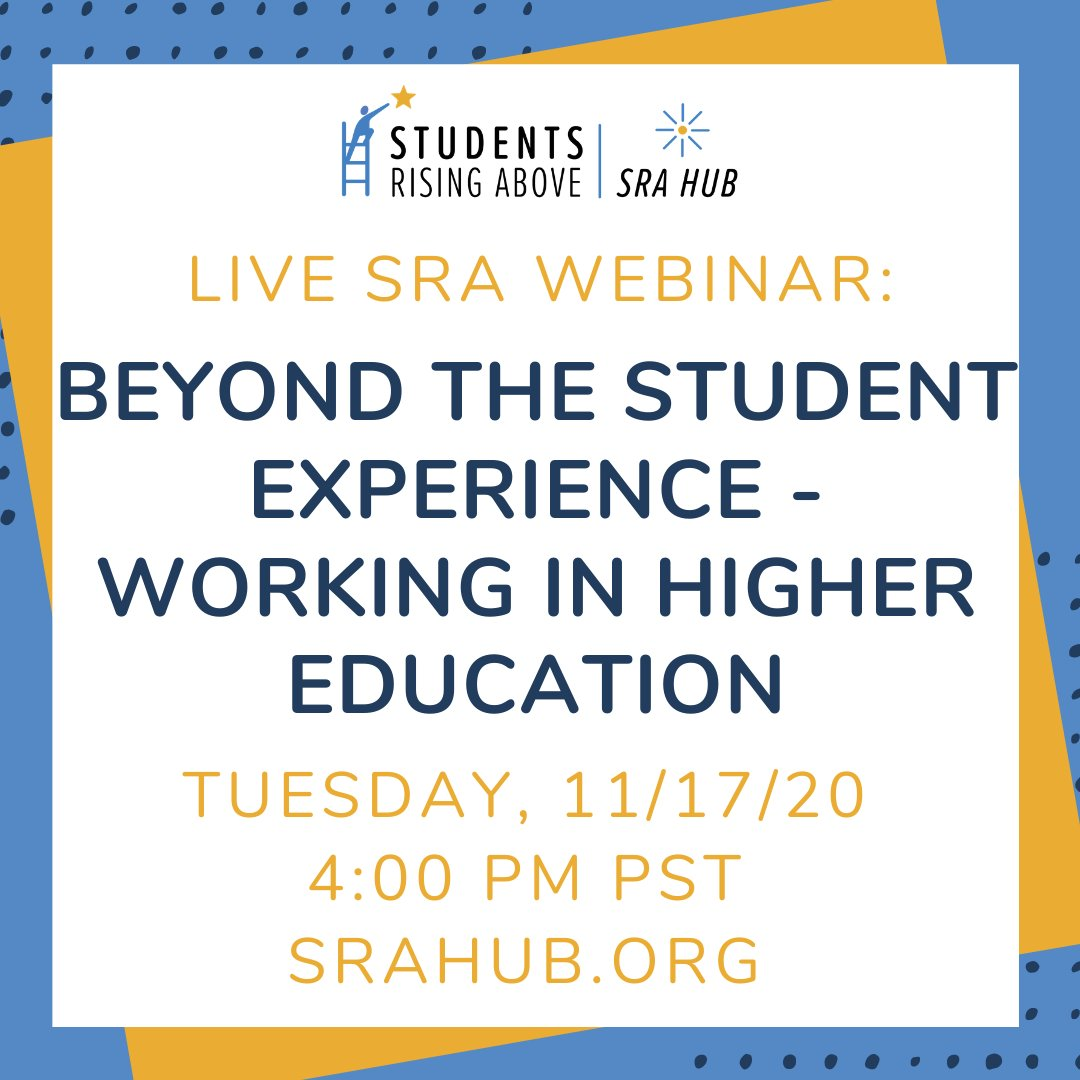 Happening in 20 minutes - it's not too late - join the conversation about Working in Higher Education!   Register and join this live SRA webinar here: https://t.co/5EmJfhGbU5 https://t.co/DxsbJJ3TTR