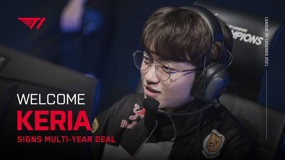 "lol_Khan - 기쁜 소식을 전해드립니다. T1의 새로운 서포터로 ""Keria"" 류민석 선수가 팀에 합류하였습니다. 류민석 선수의 새로운 출발을 함께 축하해주세요.  We're thrilled to announce that Ryu ""Keria"" Min-seok will be joining T1 for 2021. Please welcome Keria to the T1 Family!  #T1WIN #T1Fighting"