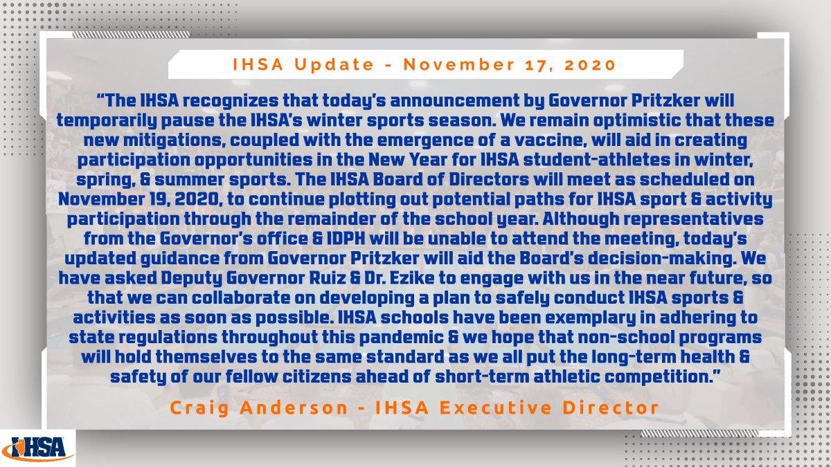 Statement from @IHSA_IL