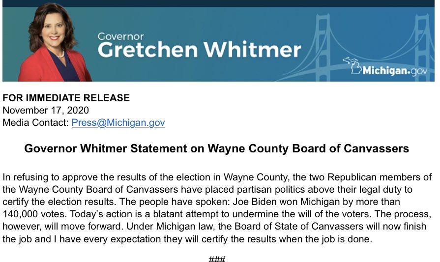 Statement on Wayne County Board of Canvassers: michigan.gov/whitmer/0,9309…