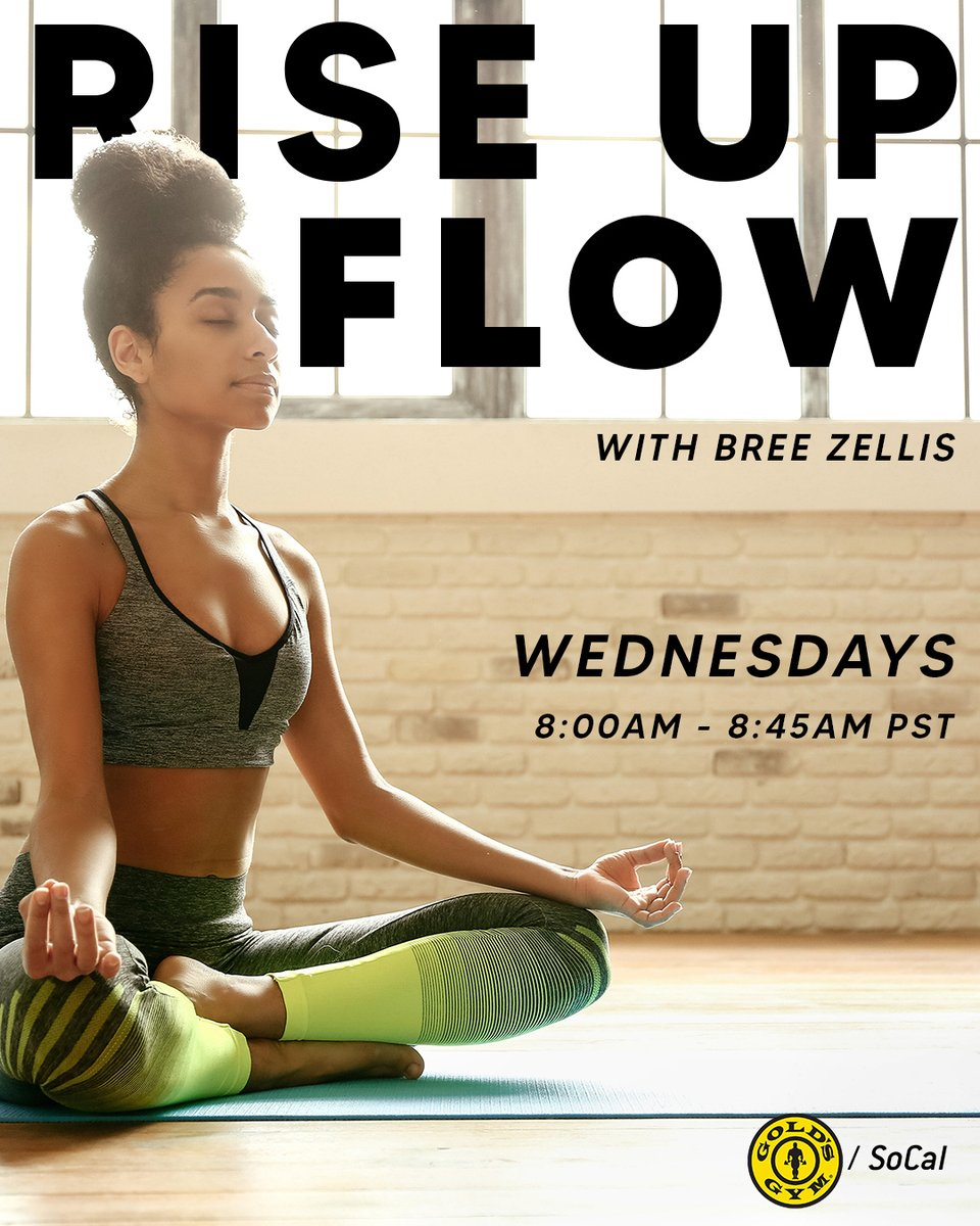 Get centered with @doyogawithbree on @GoldsGymSoCal Instagram Live bright & early for #RiseUpAndFlow every Wednesday at 8 AM PST!⁠ - -   ⁠ #GoldsGym #GoldsGymSoCal #StayInShape #HomeWorkout #GoldsAtHome #WorkoutIdeas #FitnessVideos #NowOpen #WereOpen