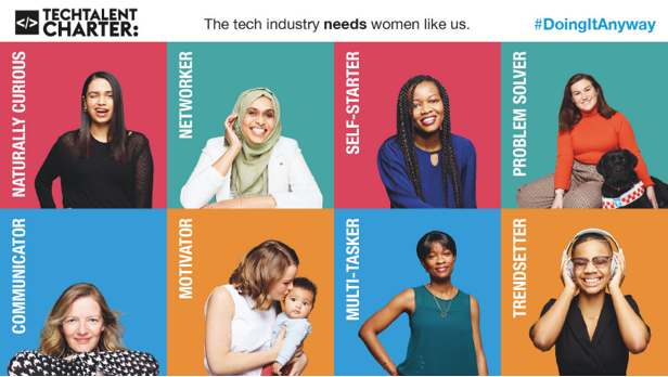 Graphic that shows 8 women who have careers in tech