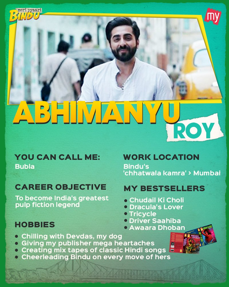 With a bio as interesting as that, #MeriPyaariBindu's Abhimanyu 'Bubla' Roy is eligible for a permanent job to reside in our hearts.❤️  #AyushmannKhurrana #CharacterResume @ayushmannk