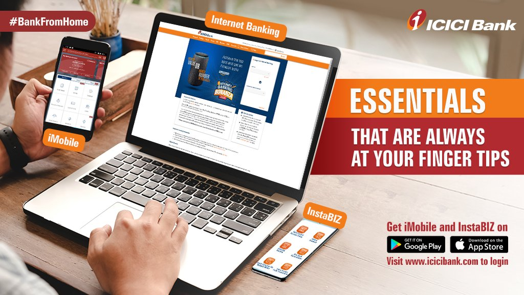 With ICICI Bank, #BankFromHome, 24/7 with banking essentials that ensure a seamless experience.   Download here⤵️:  ✅iMobile:    ✅InstaBIZ:    ✅Net banking: