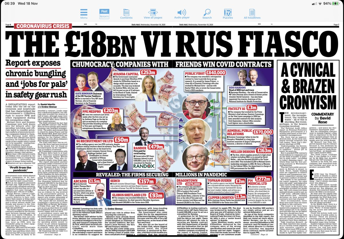 Chumocracy & cronyism at heart of Govt: this just tip of iceberg. Understand in height of crisis timescales shortened, decisions needed fast. Turns out we were not in this together. Tory mates = vast profits while rest of country pay. True patriots would have done at cost+