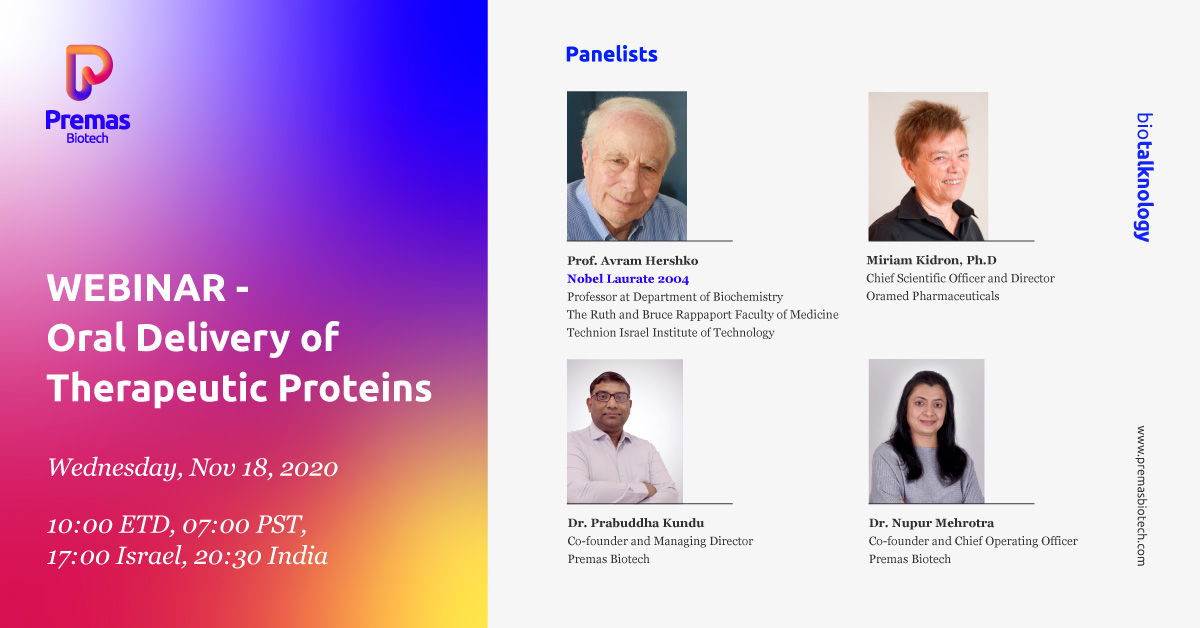 It's TODAY. With over a 1000 registrations, we are truly excited for #Biotalknology with Prof. Avram Hershko and Dr. Miriam Kidron. Click on the link below to register, if you haven't done it yet. We'd love for you to join us.
