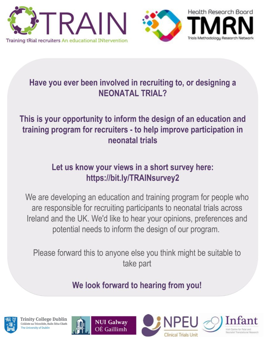 Have you designed or recruited to a neonatal trial?   Complete @hrbtmrn survey and contribute to a new education program aimed at improving participation in neonatal studies.