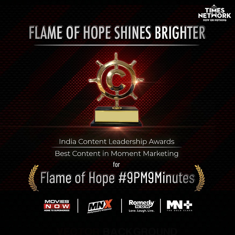 The winning streak continues! We are proud to be awarded with the Indian Content Leadership Award for Best Content in Trend/Moment Marketing.  @moviesnowtv @RomedyNow @MNXMovies @mnplustv #9pm9minutes #FlameOfHope
