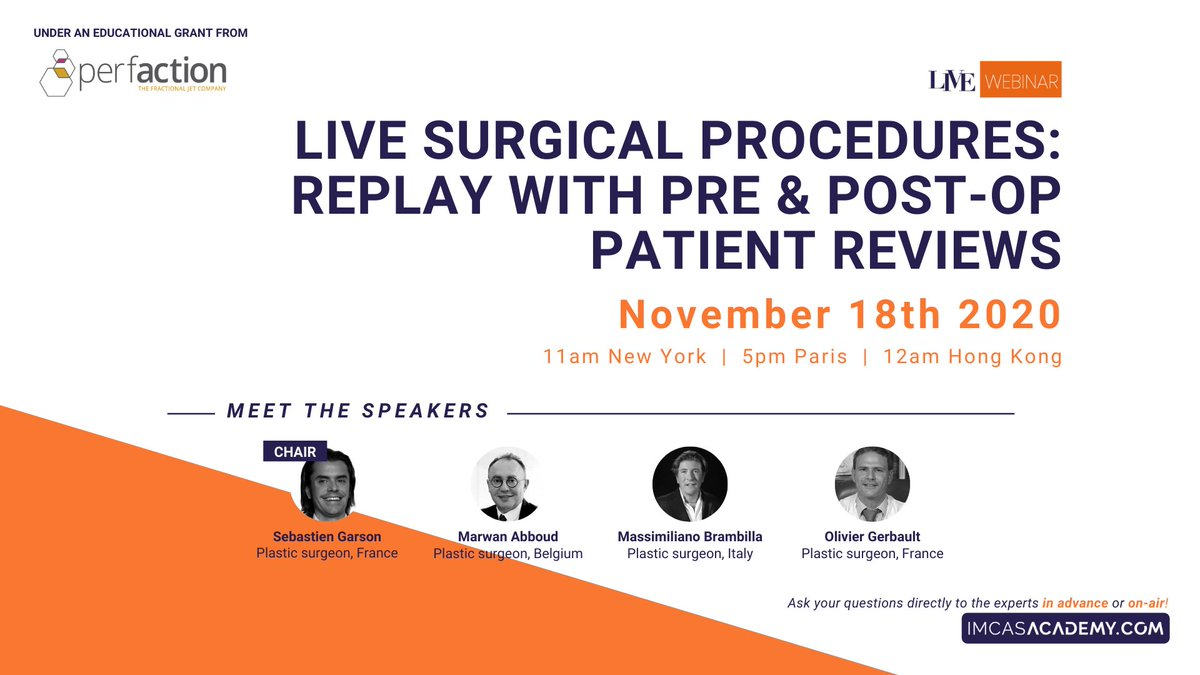 - LIVE WEBINAR TODAY - November 18 at 5PM (Paris time)  Join us today on IMCAS Academy for the LIVE webinar featuring step-by-step video surgeries of male body contouring, scarless breast reduction and preservation rhinoplasty Register & watch for free 👉 https://t.co/ADjvBfDXvu https://t.co/2ViipX7pQD