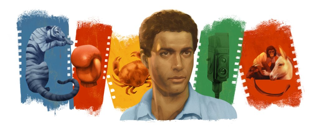 Today's #GoogleDoodle celebrates the birthday of Egyptian actor Ahmed Zaki 🐅   One of the first dark-skinned actors to play leading roles in Egyptian films, he helped change the face of the Arab film industry forever 📽  🎨 by guest artist @picxxo →