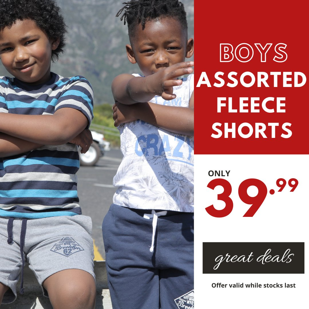 Stay cool in these comfy shorts this summer 😎 Boys Assorted Fleece Shorts only 39.99 Available in selected stores now #choiceclothing #wearchoice #boyswear #shorts