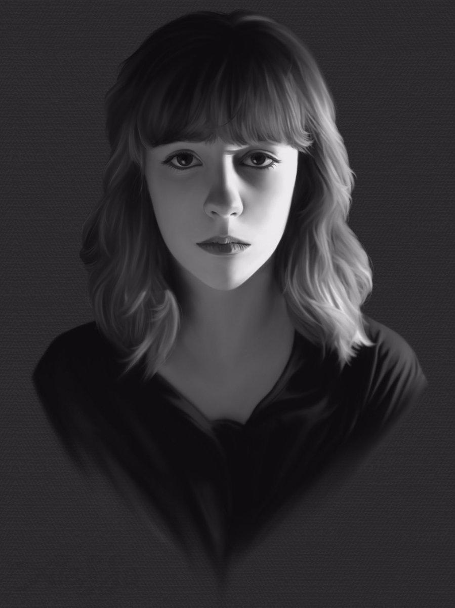 Hice un autorretrato para practicar realismo. Estoy haciendo otro dibujo realista con MÁS detalles. MUCHOS MÁS. Incluido cada mínimo pelito. Y todavía tengo que estudiar los trimestrales, F. Deséenme suerte 😔✊🏻 (Procreate Brushes: Extra soft airbrush) #selfportrait