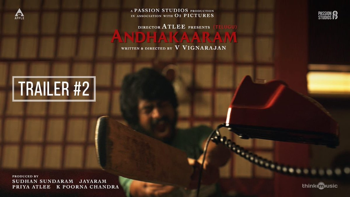 The Intriguing #Andhakaaram - Telugu Trailer #2️⃣ Out Now    @Atlee_dir @aforapple_offcl @PassionStudios_  @priyaatlee @Sudhans2017 @vvignarajan @iam_arjundas #PradeepKumar @Jayaram_gj @vinoth_kishan @Poojaram22  @NetflixIndia @MishMash2611 @DoneChannel1