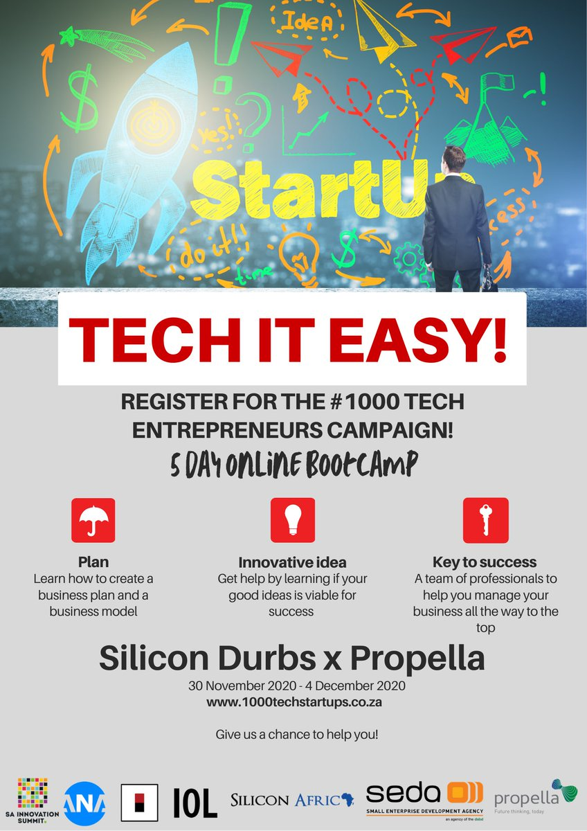 Are you ready to #TechItEasy ? Apply today for the #1000TechEntrepreneursCampaign to partake in the greatly coveted 5 day Online Bootcamp. Come and learn, interact and get that tech business idea off the ground!   Secure your spot here