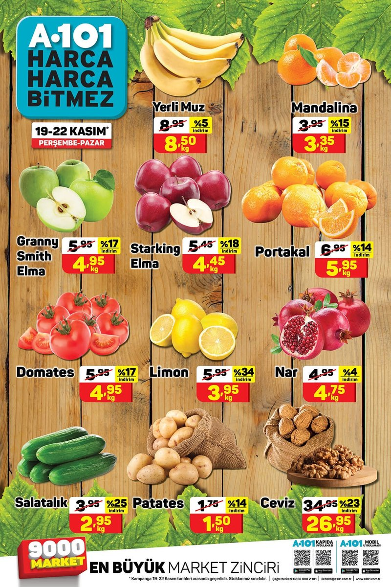 19 - 22 Kasım tarihleri arasında uygun fiyatlı meyve-sebze ürünleri A101'lerde! #A101 #HarcaHarcaBitmez #A101Herİlçede #meyvesebze⠀ https://t.co/OKL4CzDCqx