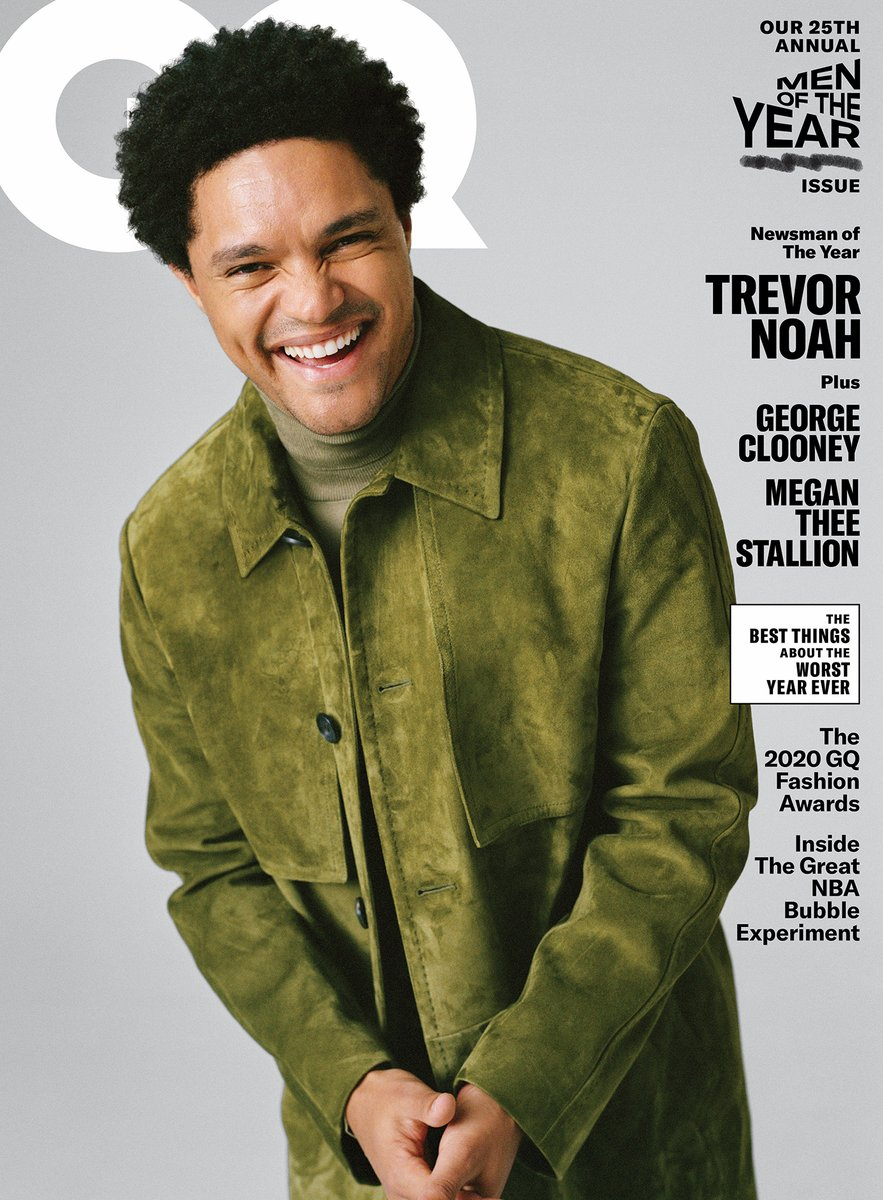 """The worst thing about being on the cover of GQ is they can make you look so good people in real life are like... """"Damn Trev, what happened?"""" The best part is... SHARING THIS HONOUR WITH GEORGE CLOONEY & MEGAN THE STALLION! Thank you @GQMagazine @ShaniqwaJarvis @mobolajidawodu"""