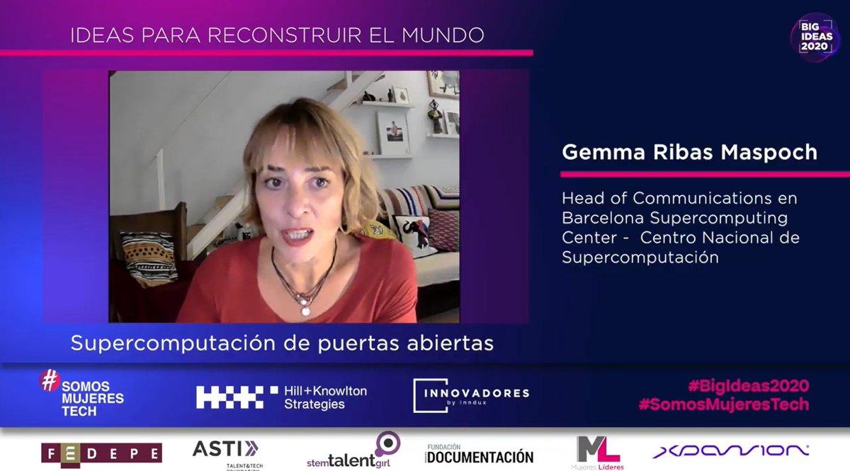 .@gemmaribas, Head of Communications en @BSC_CNS, nos comenta su idea sobre la supercomputación de puertas abiertas.  #BigIdeas2020 #SomosMujeresTech https://t.co/5x7VX6O7Bl